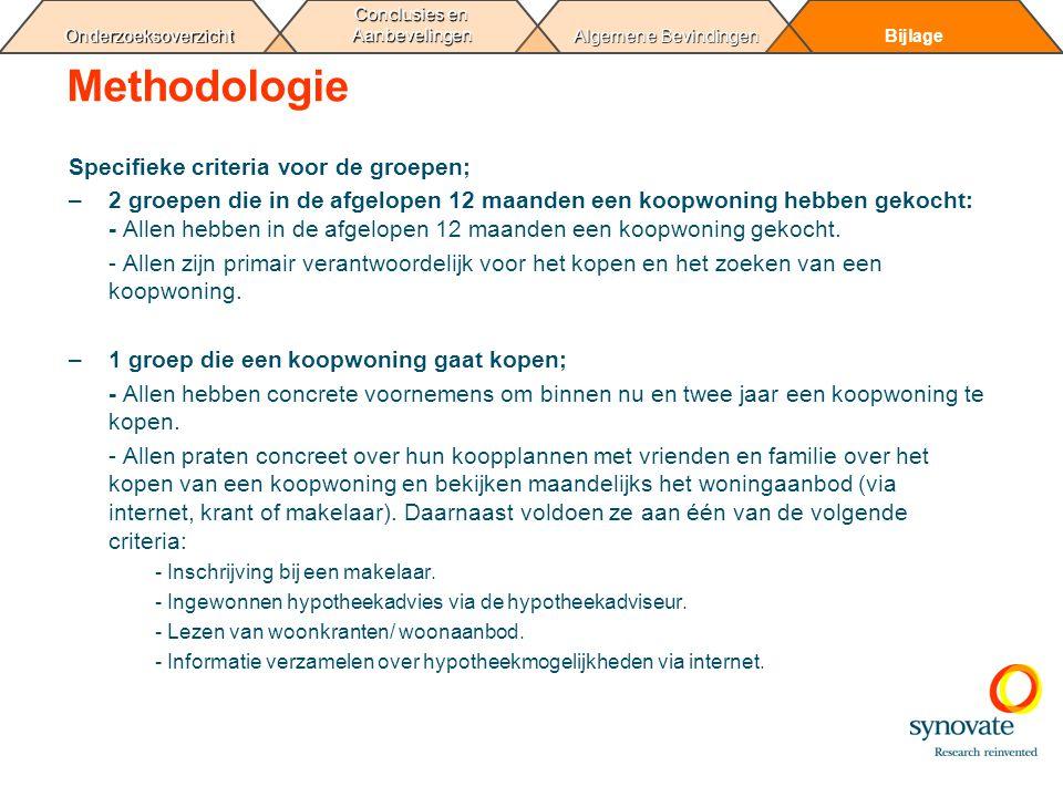 Methodologie Specifieke criteria voor de groepen;