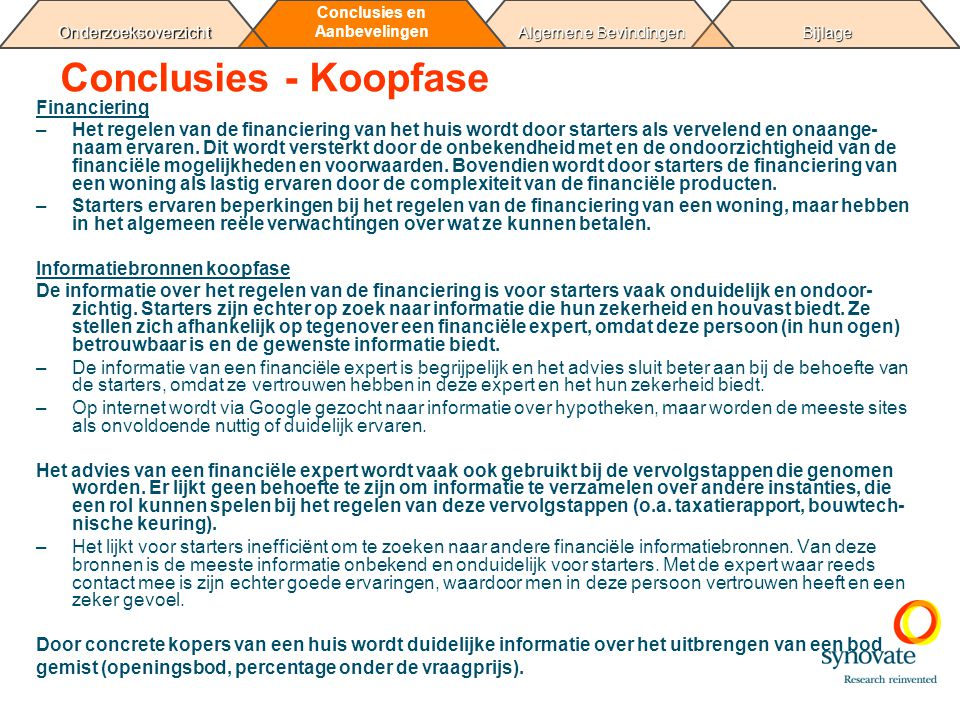 Conclusies - Koopfase Financiering