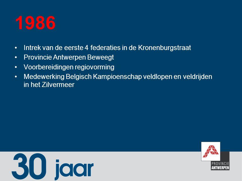 1986 Intrek van de eerste 4 federaties in de Kronenburgstraat
