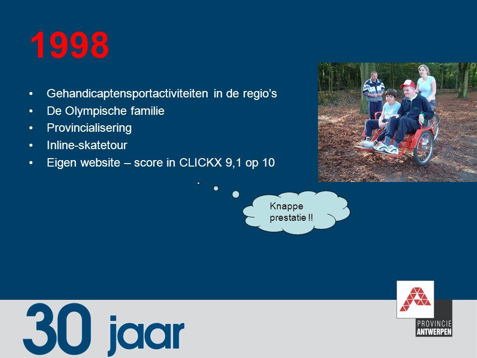 1998 Gehandicaptensportactiviteiten in de regio's