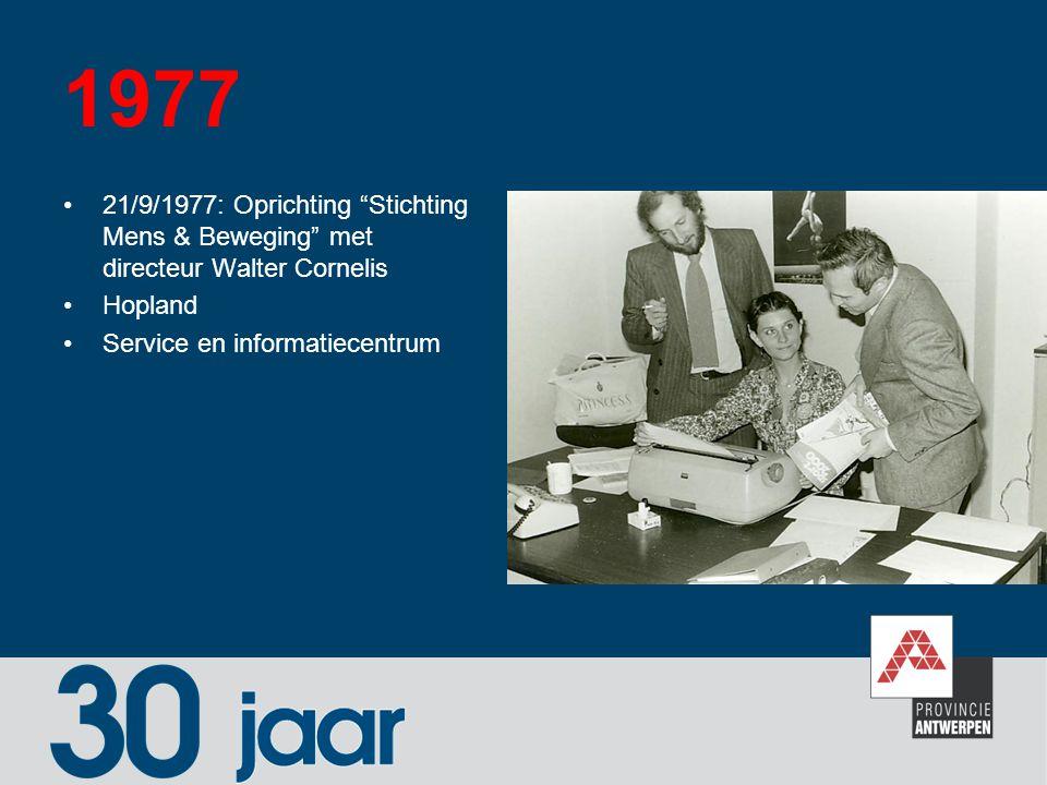 1977 21/9/1977: Oprichting Stichting Mens & Beweging met directeur Walter Cornelis.