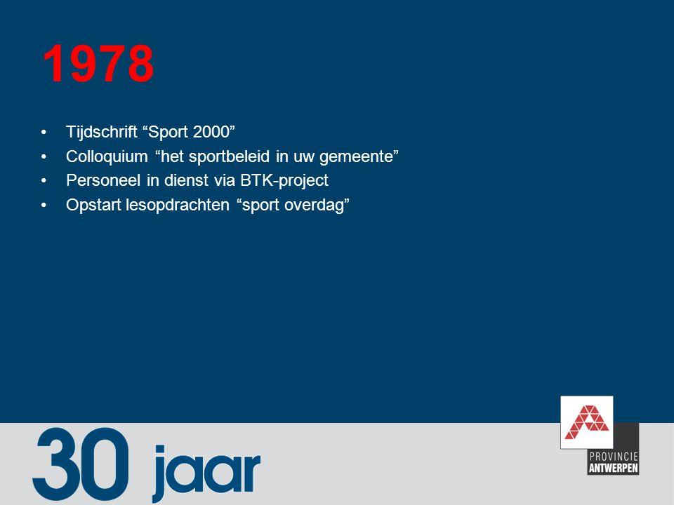 1978 Tijdschrift Sport 2000 Colloquium het sportbeleid in uw gemeente Personeel in dienst via BTK-project.