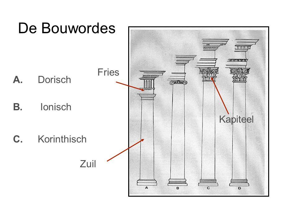 De Bouwordes Fries A. Dorisch Kapiteel B. Ionisch C. Korinthisch Zuil