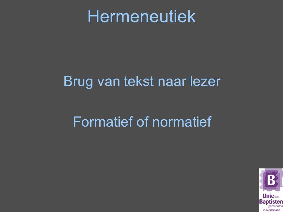 Hermeneutiek Brug van tekst naar lezer Formatief of normatief