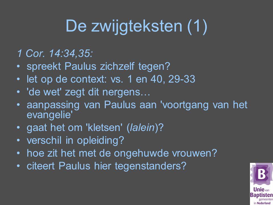 De zwijgteksten (1) 1 Cor. 14:34,35: spreekt Paulus zichzelf tegen