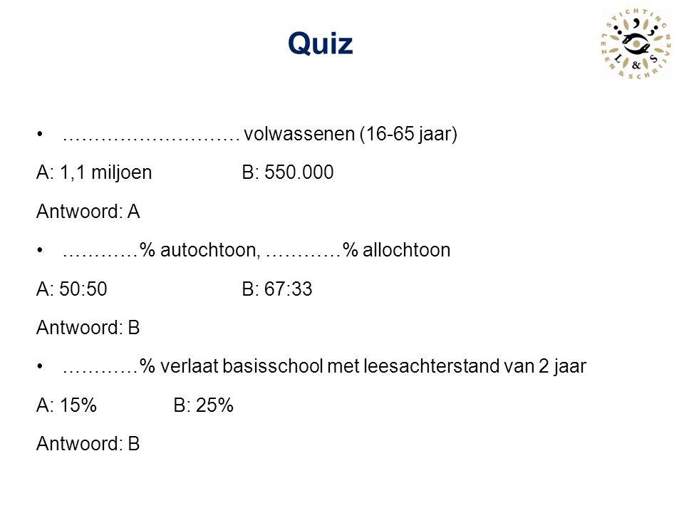 Quiz ………………………. volwassenen (16-65 jaar) A: 1,1 miljoen B: 550.000