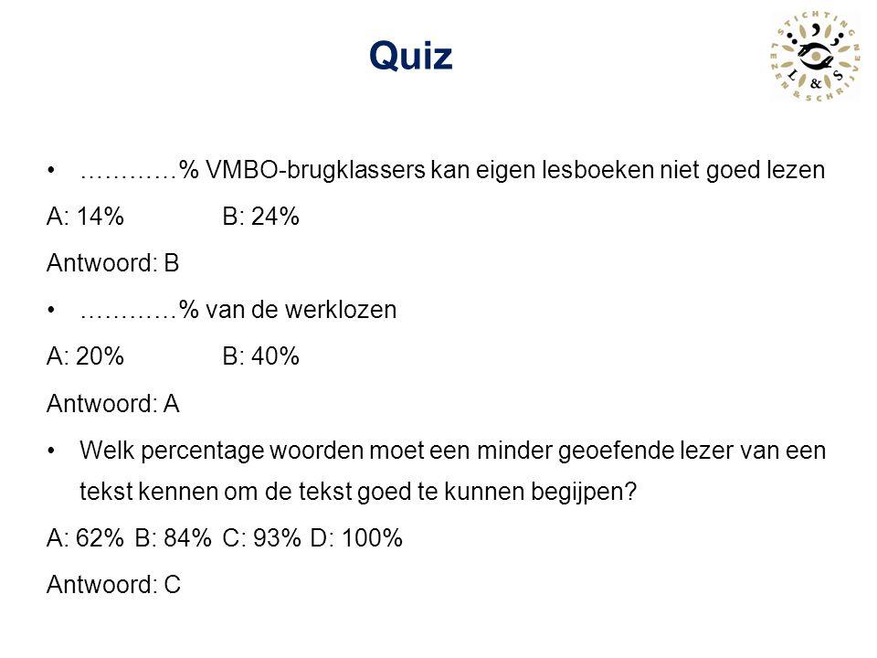 Quiz …………% VMBO-brugklassers kan eigen lesboeken niet goed lezen