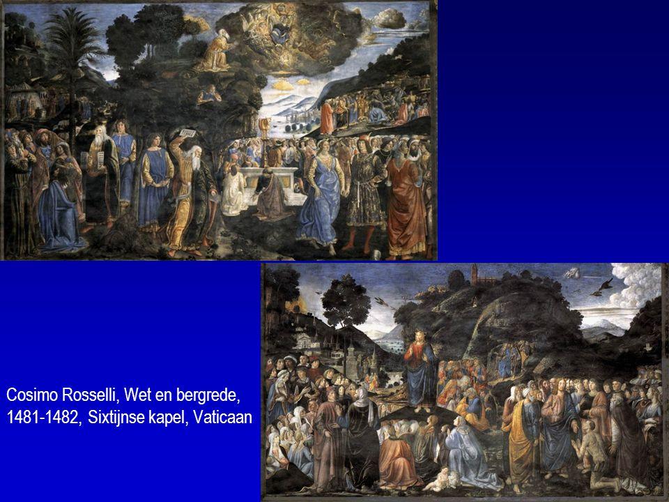 Cosimo Rosselli, Wet en bergrede, 1481-1482, Sixtijnse kapel, Vaticaan