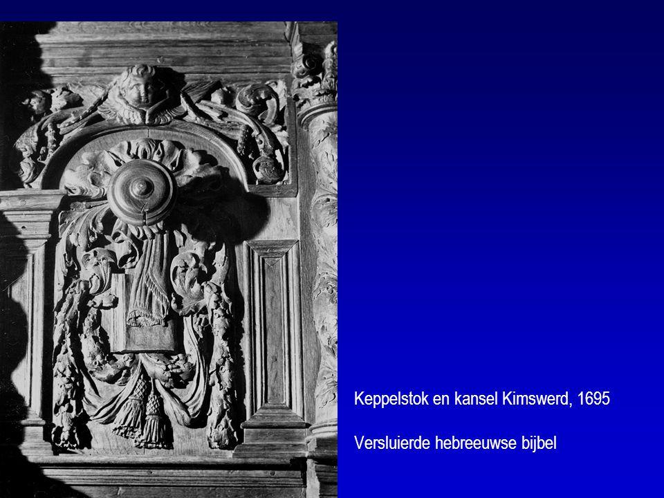 Keppelstok en kansel Kimswerd, 1695 Versluierde hebreeuwse bijbel