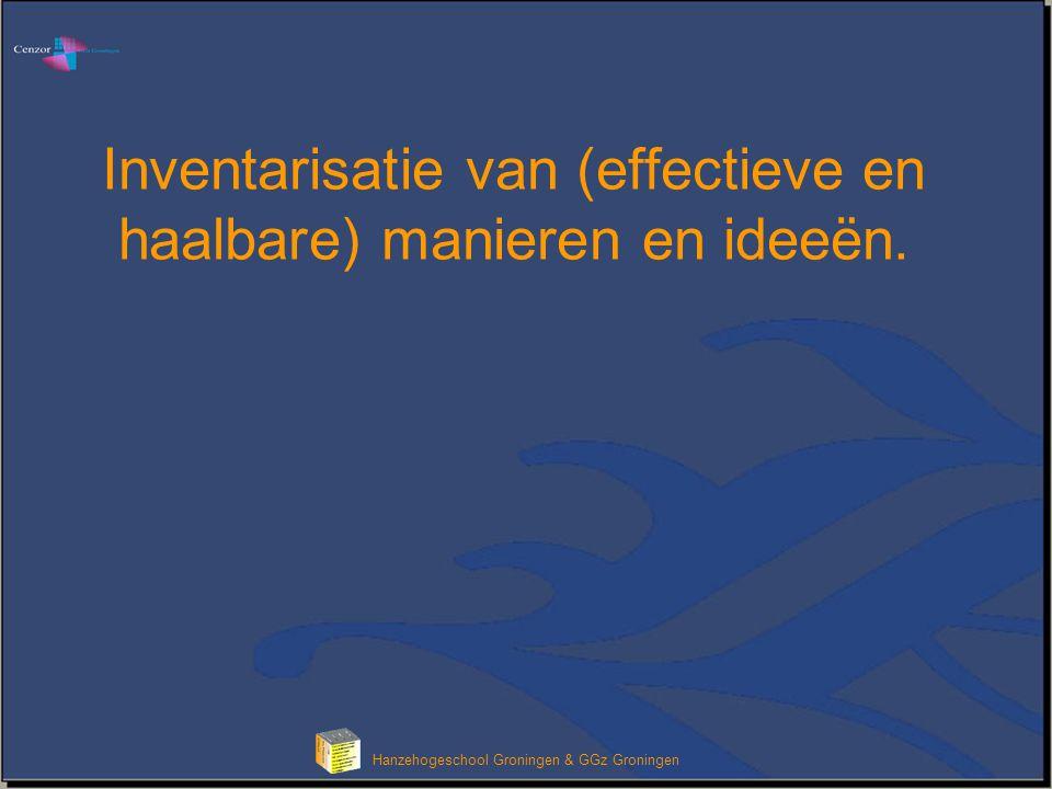 Inventarisatie van (effectieve en haalbare) manieren en ideeën.