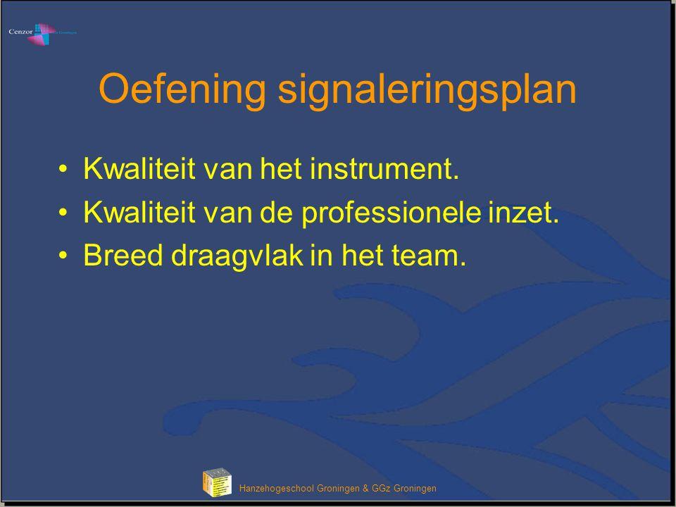 Oefening signaleringsplan