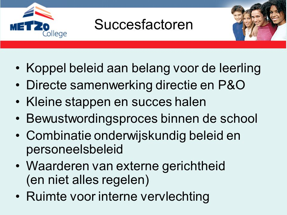 Succesfactoren Koppel beleid aan belang voor de leerling