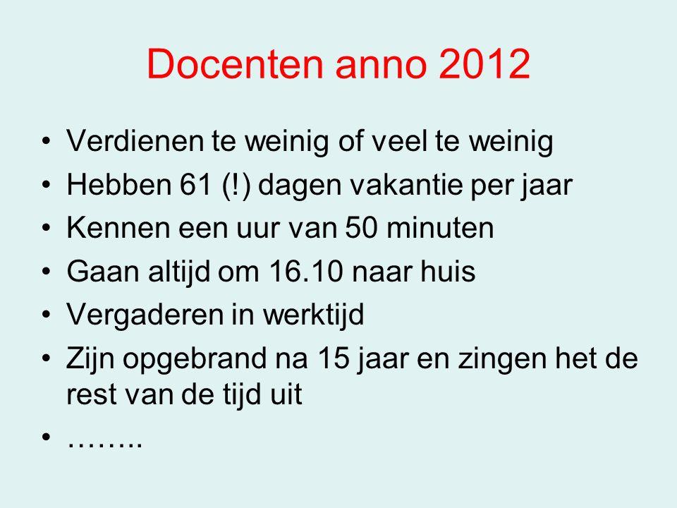 Docenten anno 2012 Verdienen te weinig of veel te weinig