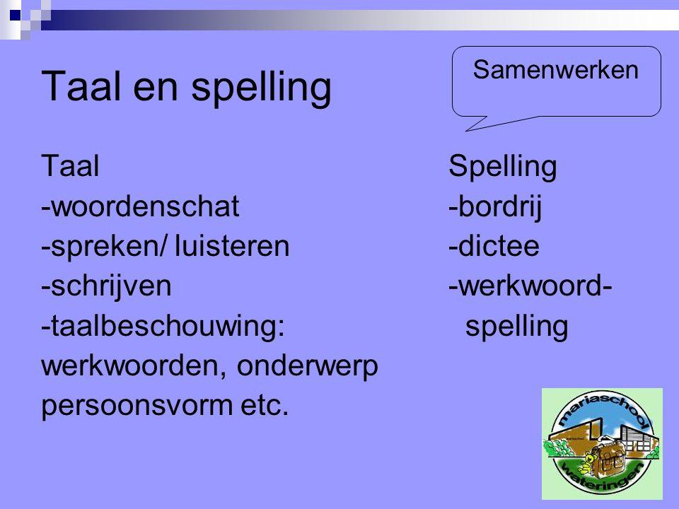 Taal en spelling Taal Spelling -woordenschat -bordrij