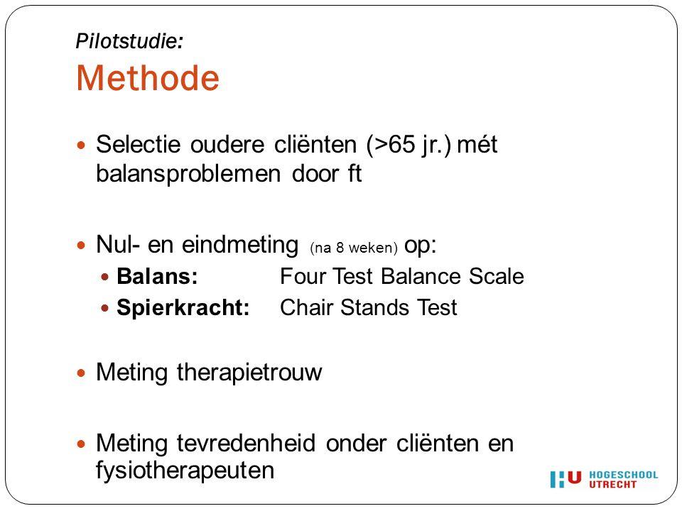 Selectie oudere cliënten (>65 jr.) mét balansproblemen door ft