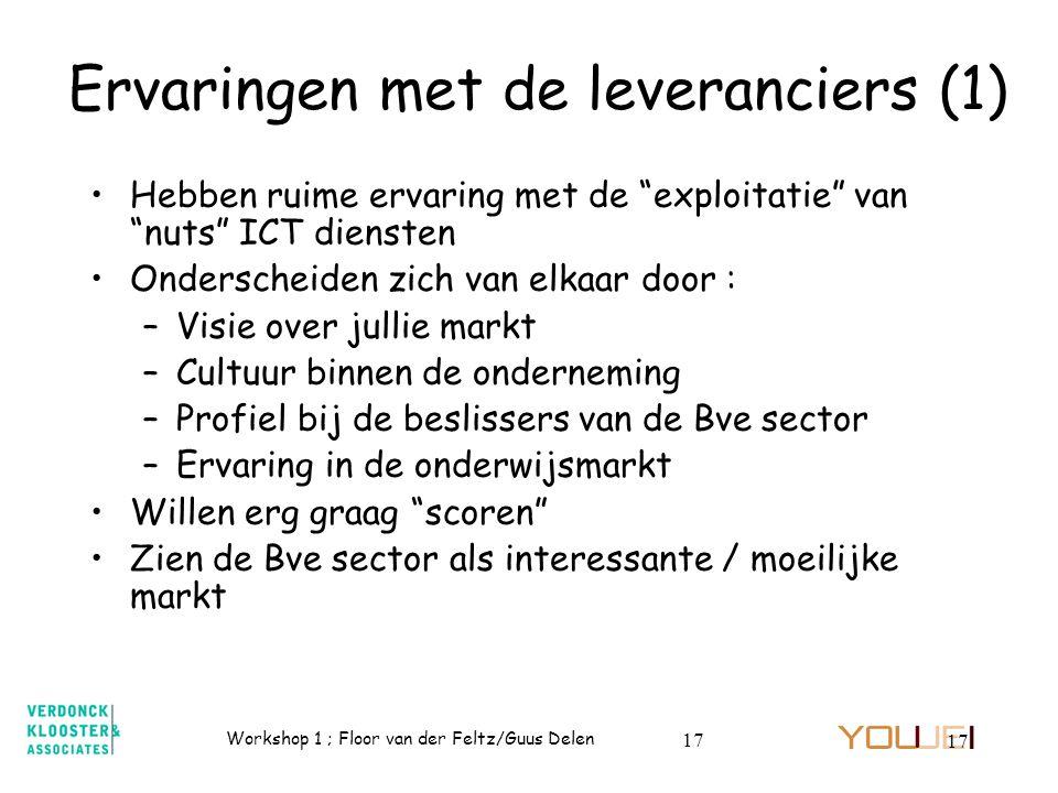 Ervaringen met de leveranciers (1)