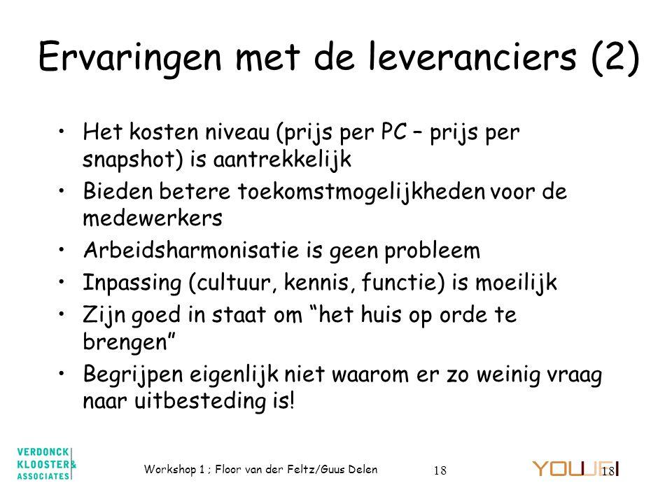 Ervaringen met de leveranciers (2)