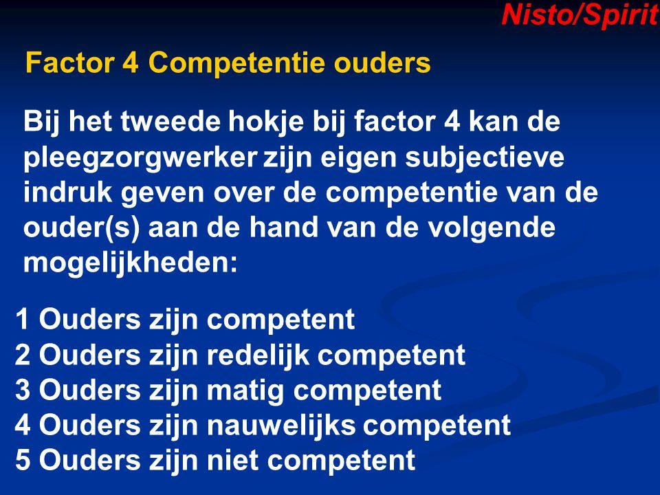 Nisto/Spirit Factor 4 Competentie ouders. Bij het tweede hokje bij factor 4 kan de. pleegzorgwerker zijn eigen subjectieve.