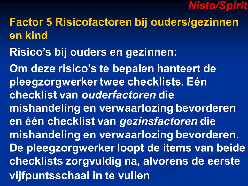 Nisto/Spirit Factor 5 Risicofactoren bij ouders/gezinnen en kind. Risico's bij ouders en gezinnen: