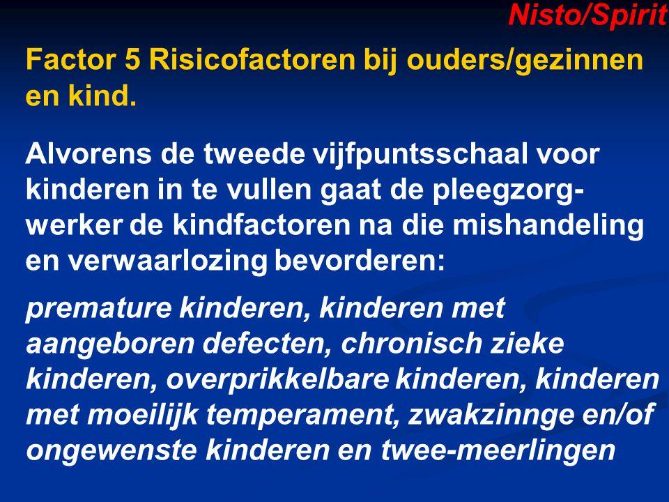 Nisto/Spirit Factor 5 Risicofactoren bij ouders/gezinnen en kind.
