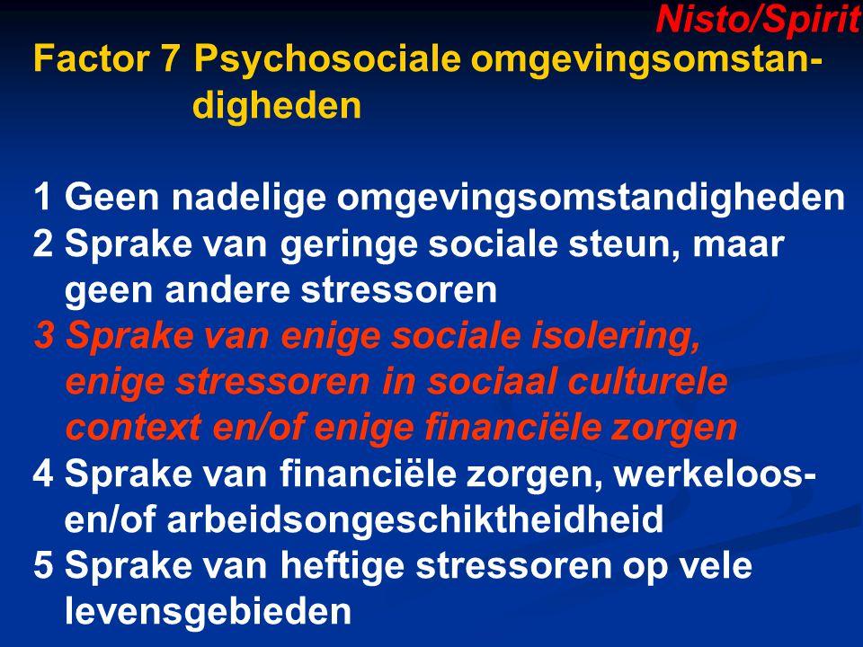 Nisto/Spirit Factor 7 Psychosociale omgevingsomstan- digheden. 1 Geen nadelige omgevingsomstandigheden.