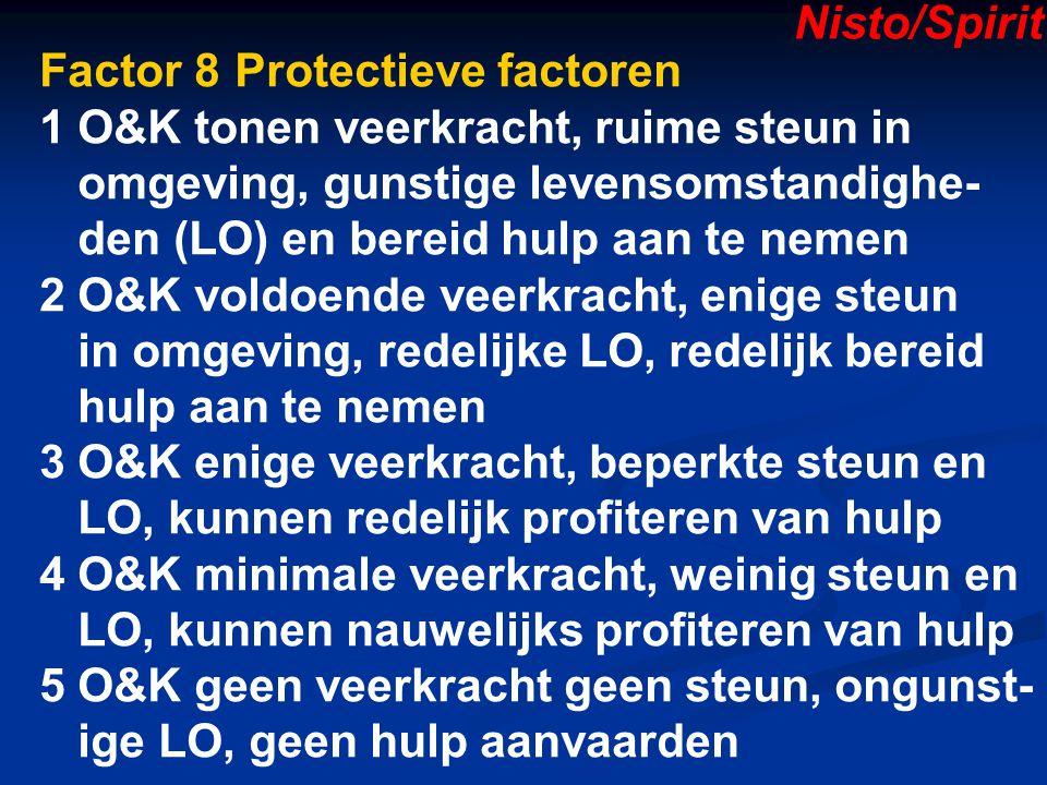 Nisto/Spirit Factor 8 Protectieve factoren. 1 O&K tonen veerkracht, ruime steun in. omgeving, gunstige levensomstandighe-