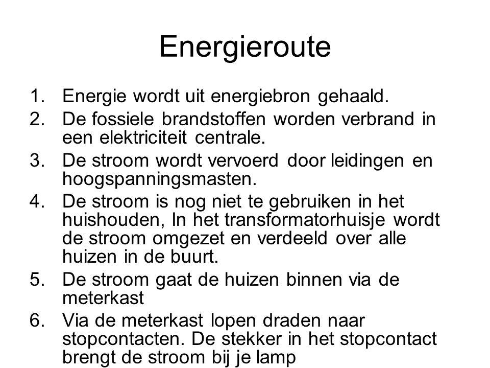 Energieroute Energie wordt uit energiebron gehaald.