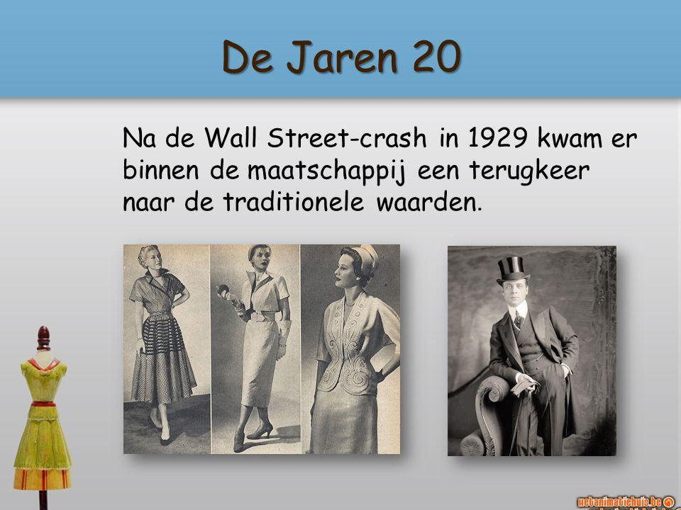 De Jaren 20 Na de Wall Street-crash in 1929 kwam er binnen de maatschappij een terugkeer naar de traditionele waarden.