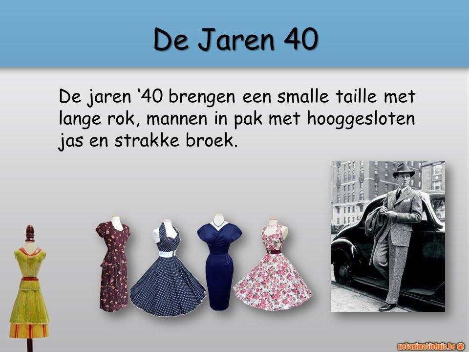 De Jaren 40 De jaren '40 brengen een smalle taille met lange rok, mannen in pak met hooggesloten jas en strakke broek.