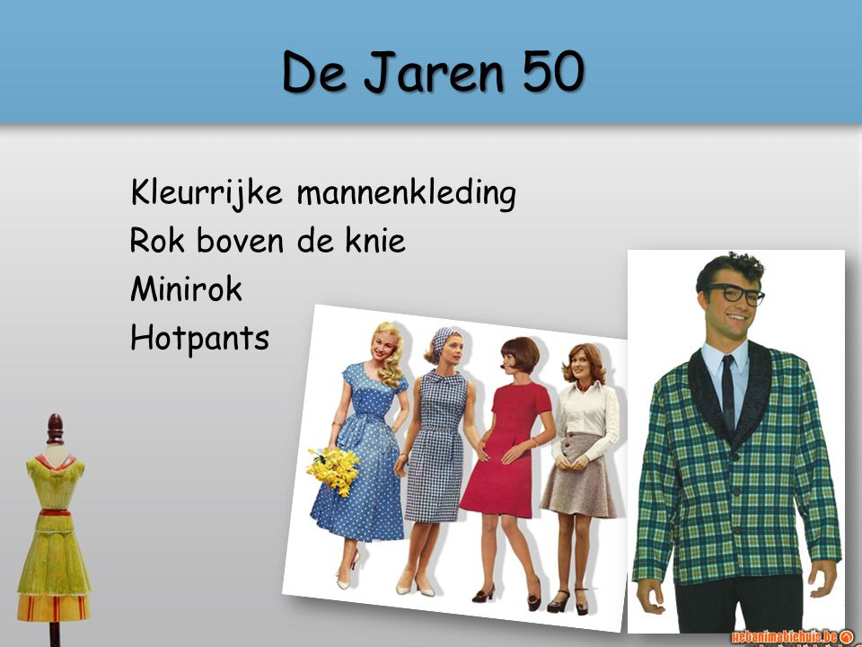De Jaren 50 Kleurrijke mannenkleding Rok boven de knie Minirok