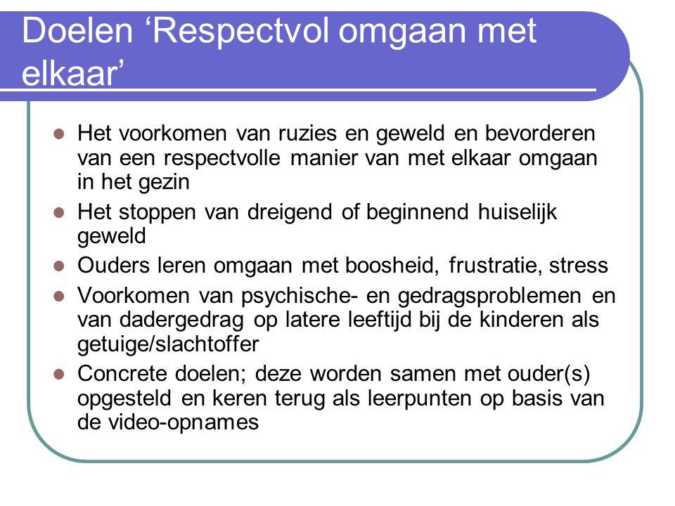 Doelen 'Respectvol omgaan met elkaar'