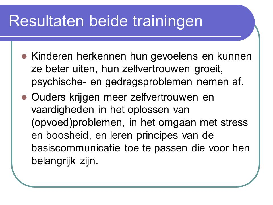 Resultaten beide trainingen