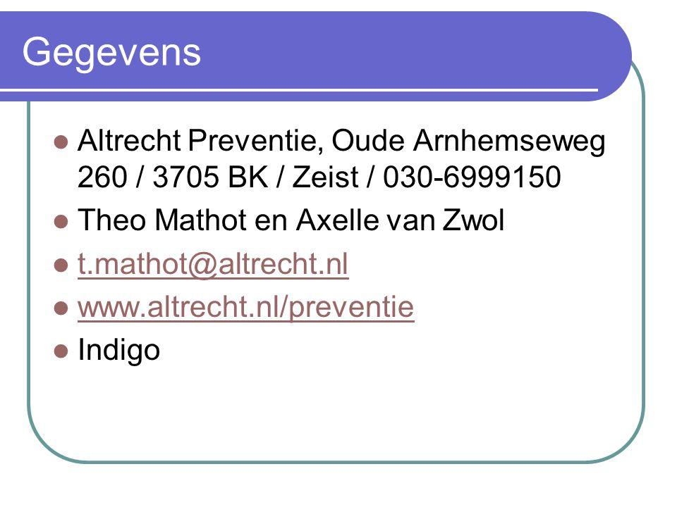Gegevens Altrecht Preventie, Oude Arnhemseweg 260 / 3705 BK / Zeist / 030-6999150. Theo Mathot en Axelle van Zwol.