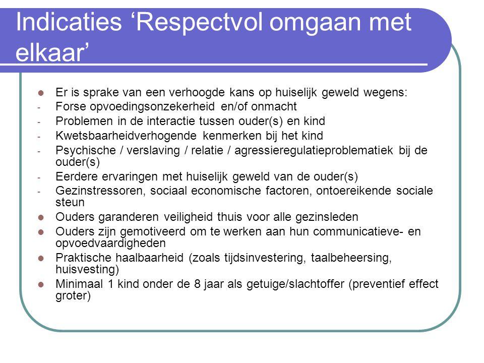 Indicaties 'Respectvol omgaan met elkaar'