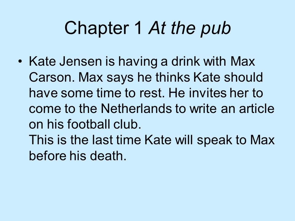 Chapter 1 At the pub