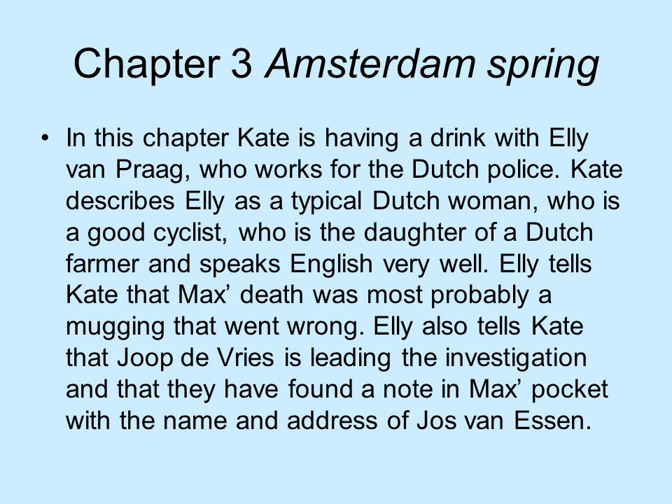 Chapter 3 Amsterdam spring