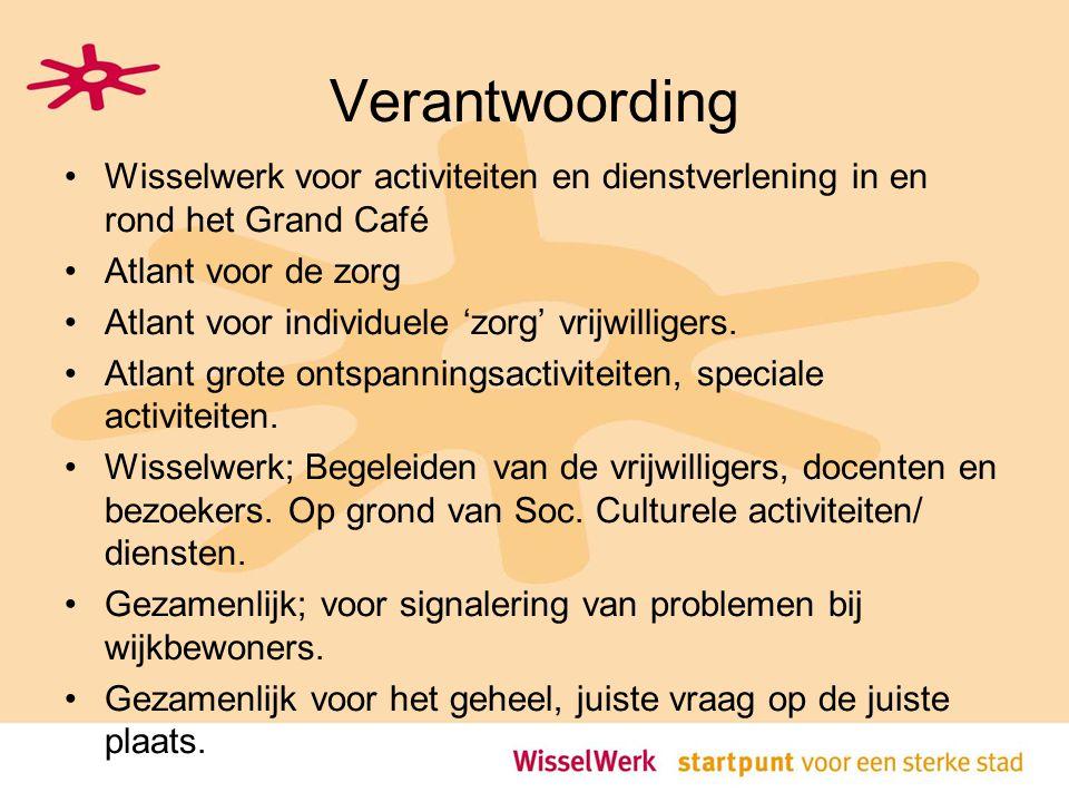 Verantwoording Wisselwerk voor activiteiten en dienstverlening in en rond het Grand Café. Atlant voor de zorg.
