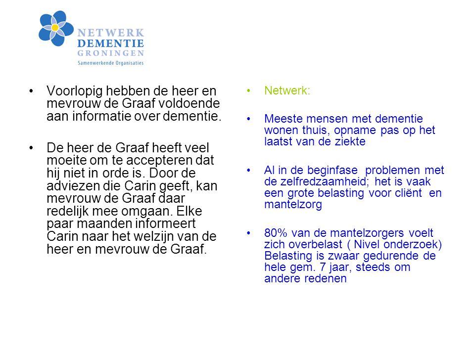 Voorlopig hebben de heer en mevrouw de Graaf voldoende aan informatie over dementie.