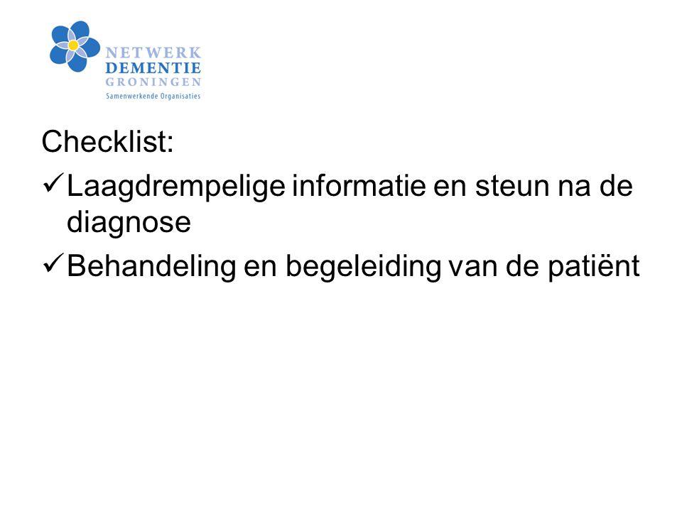 Checklist: Laagdrempelige informatie en steun na de diagnose.