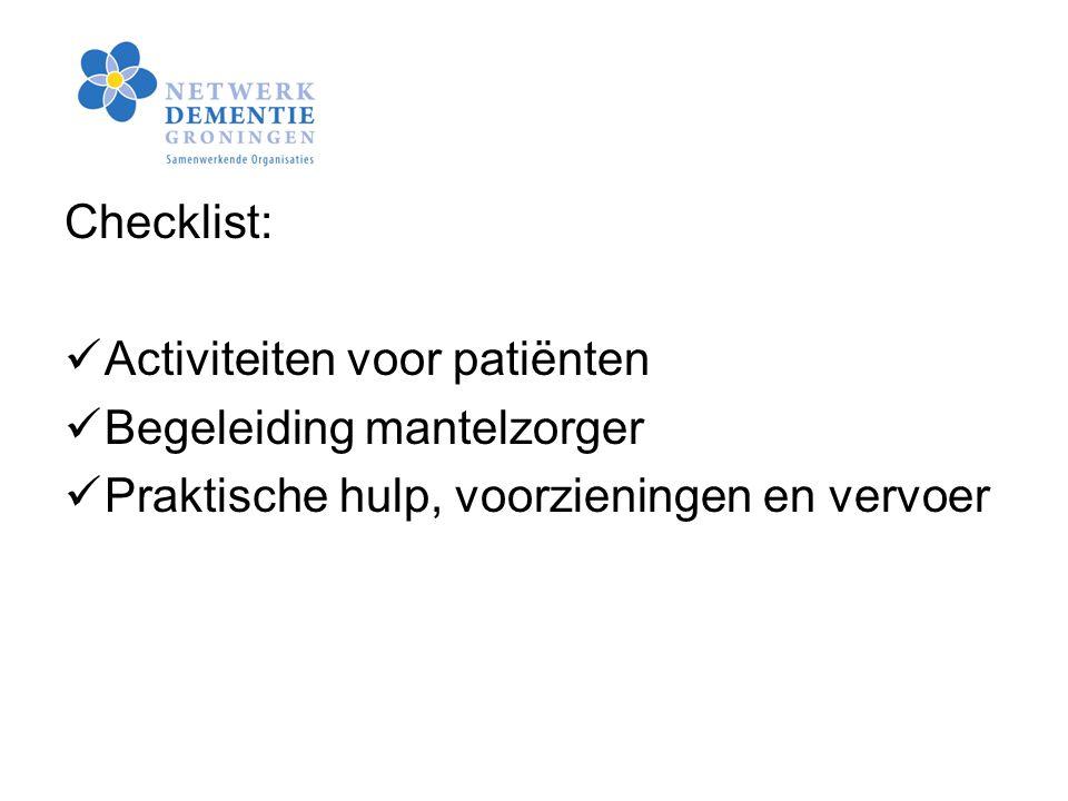 Checklist: Activiteiten voor patiënten. Begeleiding mantelzorger.