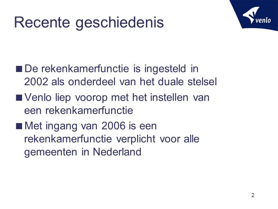 Recente geschiedenis De rekenkamerfunctie is ingesteld in 2002 als onderdeel van het duale stelsel.