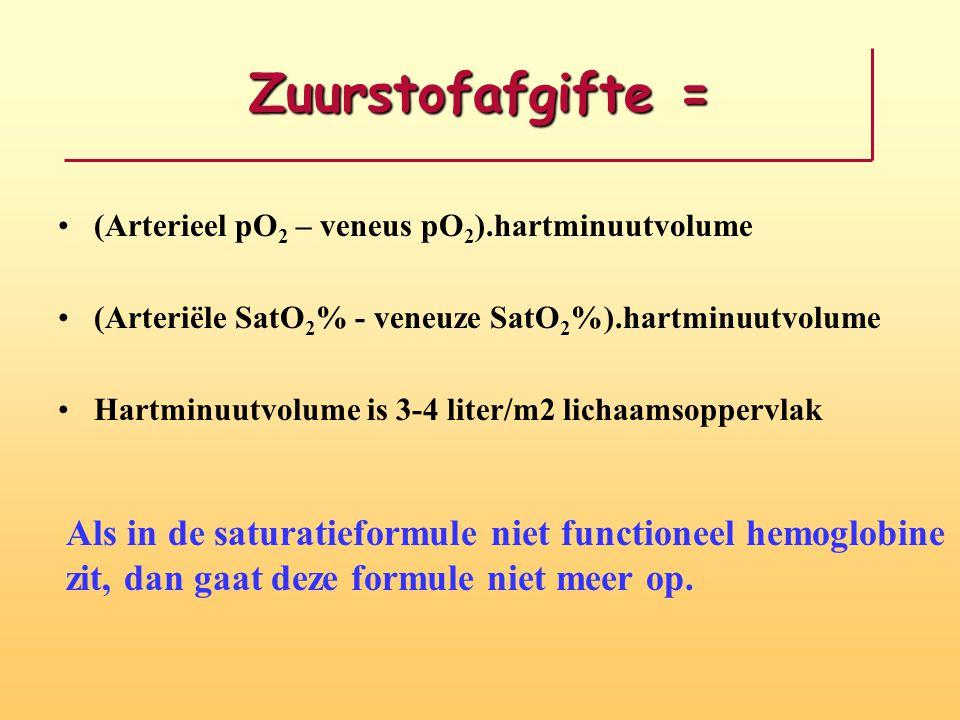 Zuurstofafgifte = (Arterieel pO2 – veneus pO2).hartminuutvolume. (Arteriële SatO2% - veneuze SatO2%).hartminuutvolume.