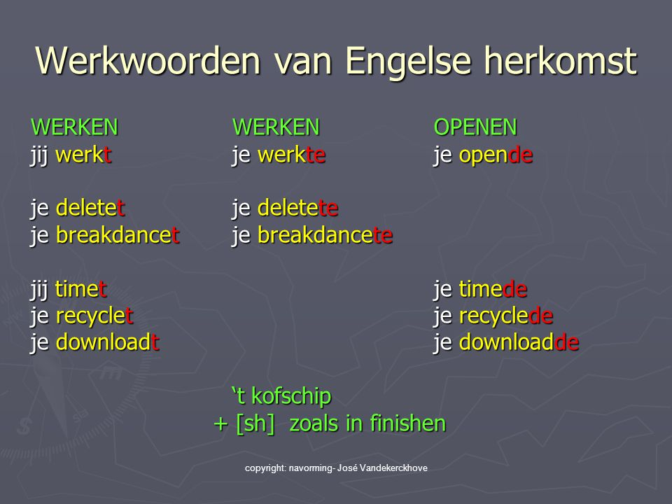 Werkwoorden van Engelse herkomst