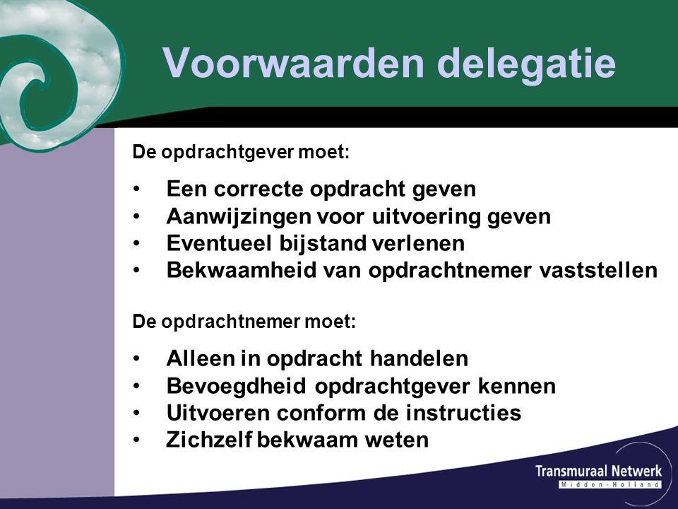 Voorwaarden delegatie