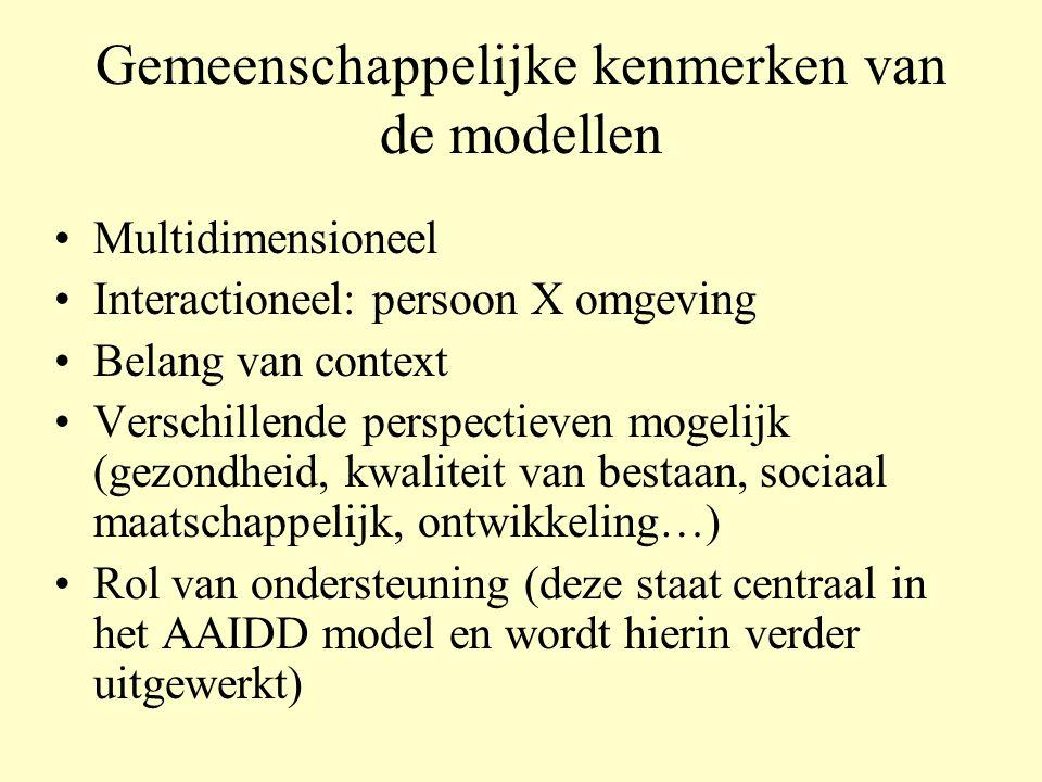 Gemeenschappelijke kenmerken van de modellen