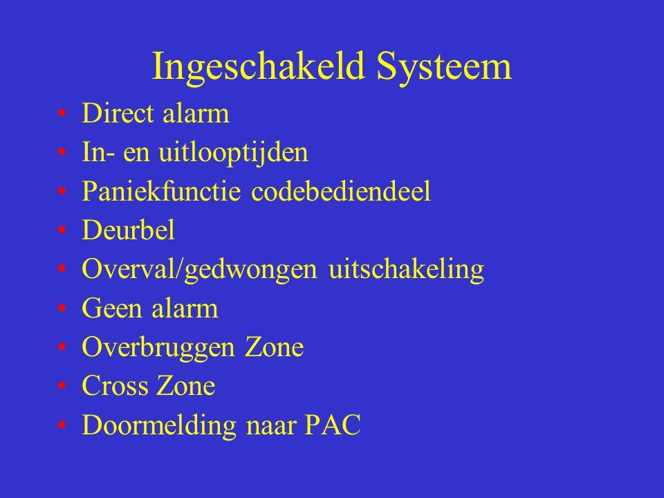 Ingeschakeld Systeem Direct alarm In- en uitlooptijden