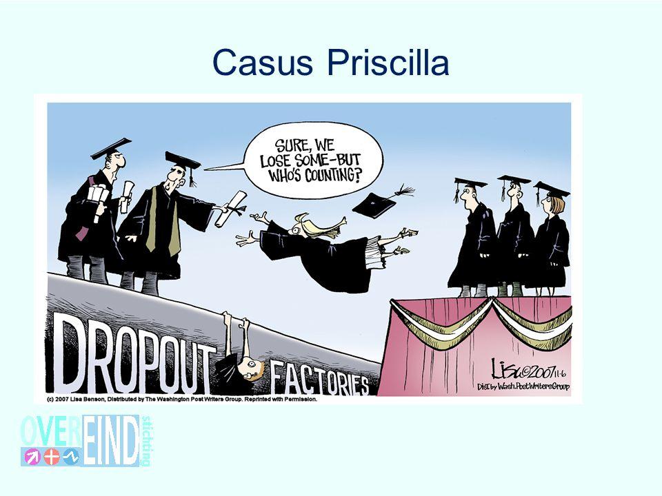 Casus Priscilla MJ. Priscilla is nu 22 jaar, heeft geen startkwalificatie en zit niet meer op school. Zij is dus voortijdig schoolverlater.
