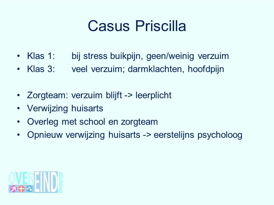 Casus Priscilla Klas 1: bij stress buikpijn, geen/weinig verzuim