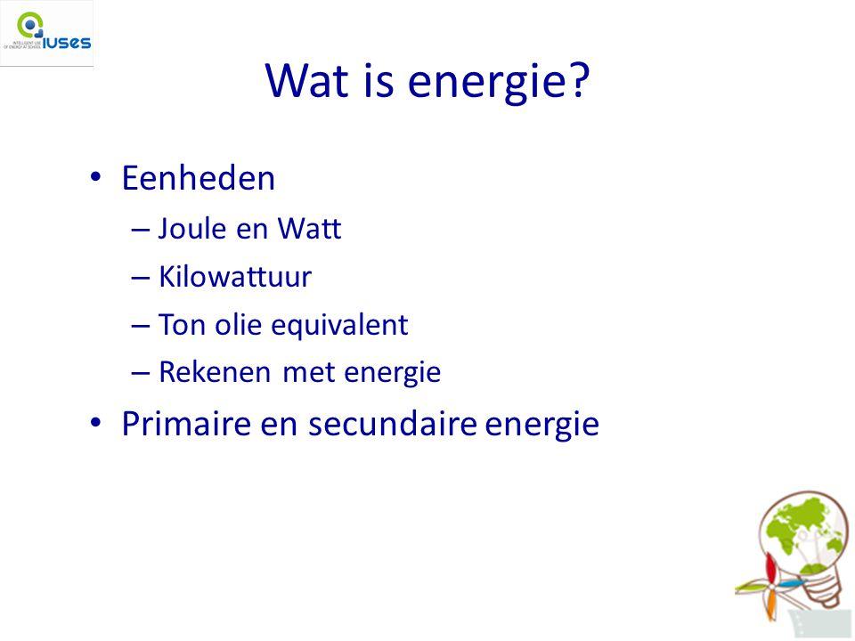 Wat is energie Eenheden Primaire en secundaire energie Joule en Watt