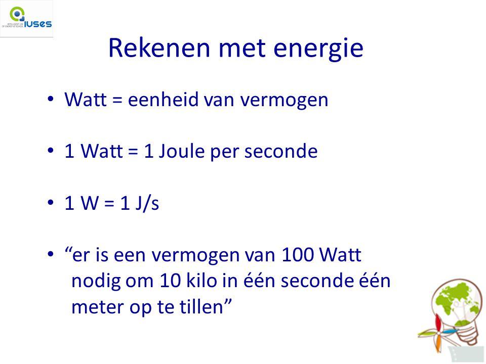Rekenen met energie Watt = eenheid van vermogen